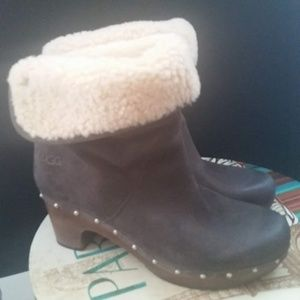 UGG Shoes | UGG Heeled Gray Boots Size 9